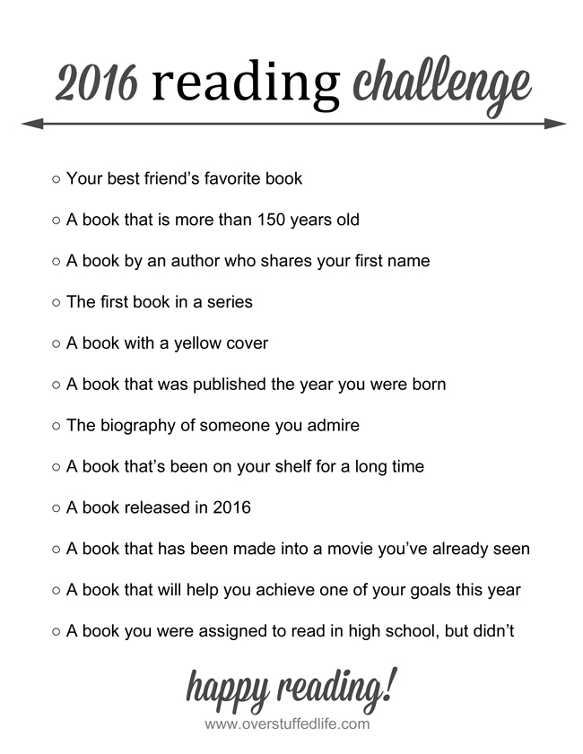 Overstuffed 2016 Reading Challenge—Only 12 Books!