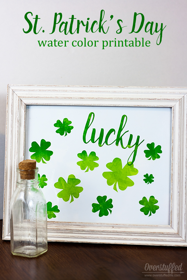 St. Patrick's Day Watercolor Printable
