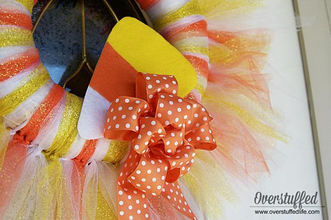 DIY Tulle Halloween Wreath—Candy Corn Style!