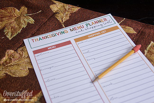 Free Printable Thanksgiving Menu Planner and Shopping List