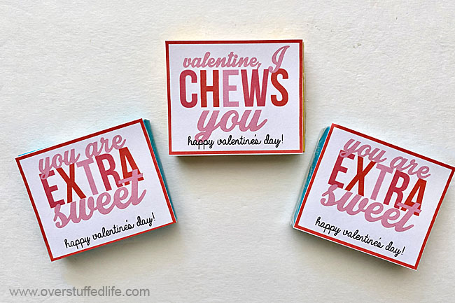 Two Valentine Printables for Chewing Gum