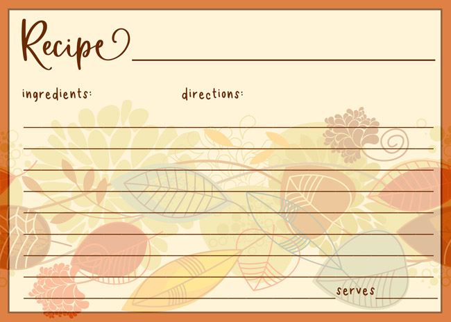 Printable Thanksgiving Recipe Cards