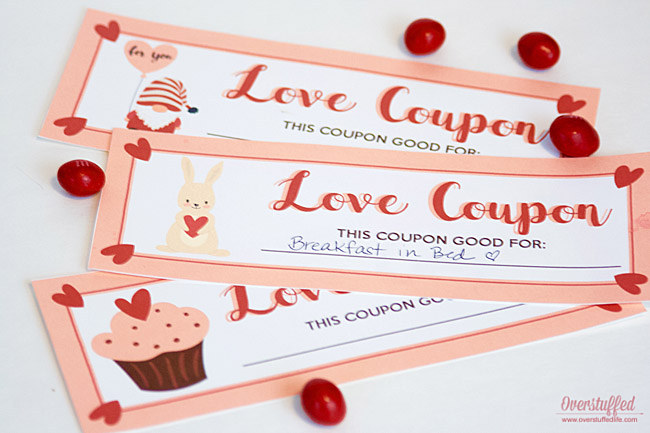 Pink and white Valentine's Day coupons